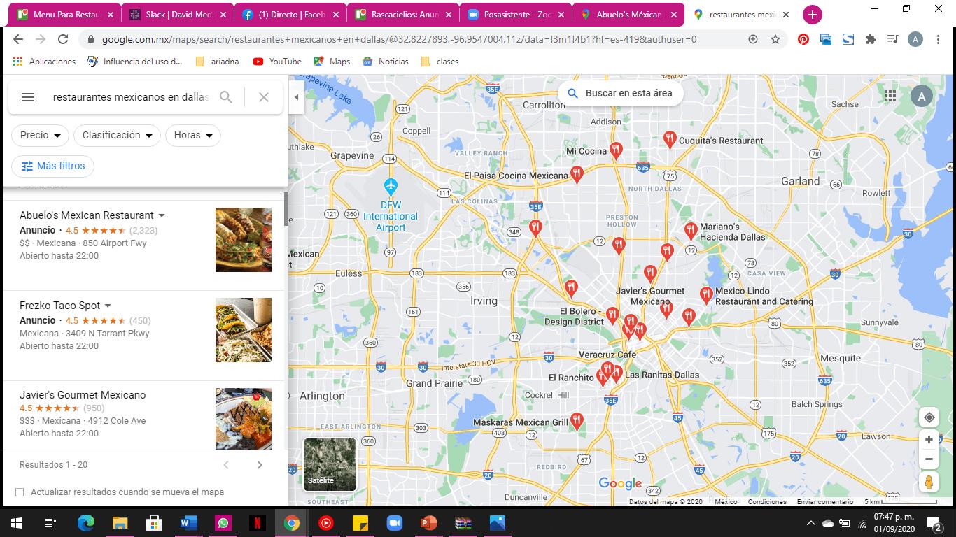 restaurantes con anuncios de comida